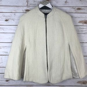 Zara Ivory Wool Blend Zippered Short Cape